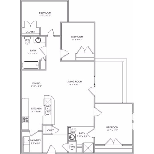 Weathered Rock Apartments I   3 Bed, 2 Bath